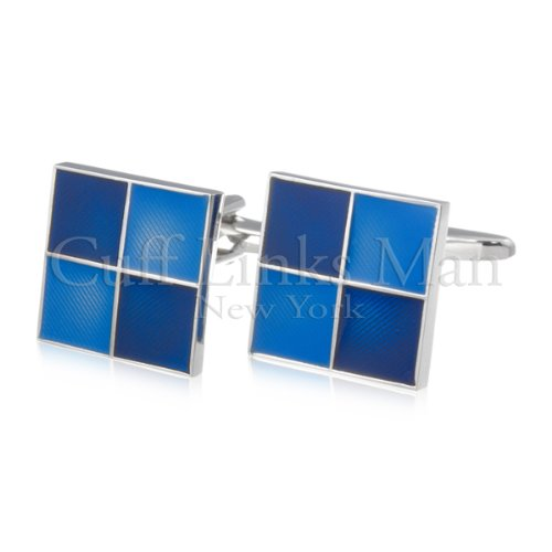 Blue Double Square Cuff Links-CL-0018