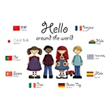 A3 homemade* multicultural poster - Hello in various languages (supplied folded to A4, NOT laminated) ideal for classrooms and childminders, schools and nurseries (Goodbye also for sale, please see our other items)by 123 Web Art