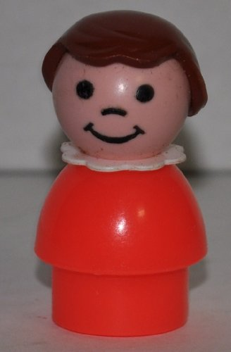 Vintage Little People School Girl (Brown Plastic Hair, White Neckerchief, & Red Plastic Base) (Peg Style) - Replacement Figure - Classic Fisher Price Collectible Figures - Loose Out Of Package & Print (OOP) - Zoo Circus Ark Pet Castle - 1