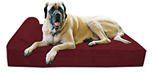 "Big Barker 7"" Pillow Top Orthopedic Dog Bed - XL Size - 52 X 36 X 7 - Burgundy - For Large and Extra Large Breed Dogs (Headrest Edition)"