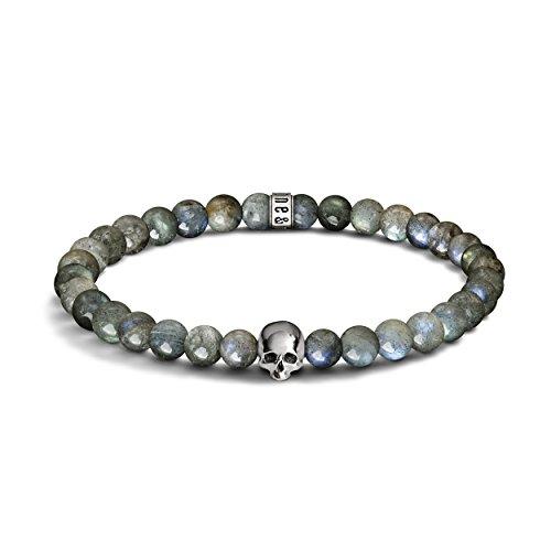 labradorite e argento sterling 925Skull Bracciale di perline-perline da 6mm, con bracciale elastico-per uomo e donna, design unico e realizzato nel Regno Unito, Argento, colore: argento, cod. BR-6-Lab-Logo-Skull-L