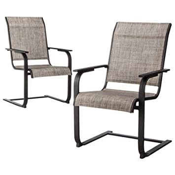 ThresholdTM Linden 2-piece Sling Patio Motion Dining Chair Set, Outdoor Garden Yard Dine Furniture Sets Features Sling-style Seat, Arm Rests, Rocking Motion, Durable, Rust-resistant Steel,1 Year Limited Manufacturer Warranty