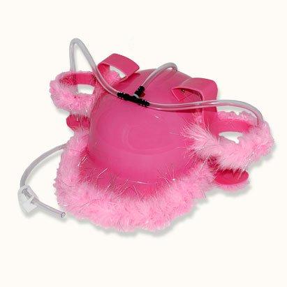 Casco-para-beber-Gorro-plstico-rosa-con-plumas-para-dos-bebidas-con-pajitas