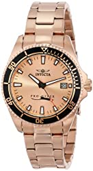 Invicta Women's 15137SYB Pro Diver Rose Gold Dial 18k Ion-Plated Stainless Steel Watch with Impact Case