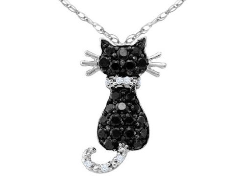 White and Black Diamond Cat Pendant 1/3 Carat (ctw) in 10K White Gold with Chain