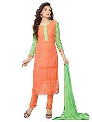 Isha Enterprise Women's Pure Chiffon Dress Material(KFD452-1870_Orange)