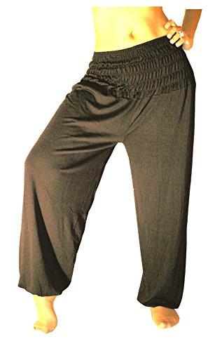 "Damen Pumphose ""Harems-Hose"" Einheitsgröße S M L XL XXL Yoga Pant Pluderhose lang (Grau-Anthrazite)"