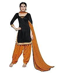 Suchi Fashion Black & Yellow Printed Cotton Dress Material