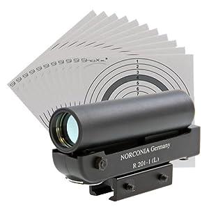 Red Dot Zielgerät R 201-1 (L) Norconia / Leuchtpunktvisier mit Montage + 25 original ShoXx.® Zielscheiben 14x14 cm mit 250 g/m² und spezieller Struktur