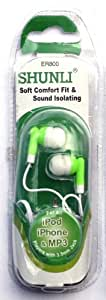Green Shunli Earbuds Sound Isolating 3.5mm Jack Fits Ipod Iphone Stocking Stuffer Mp3 4 Colors