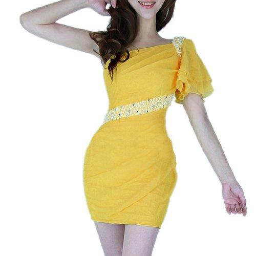 Allegra K Ladies Straight Style Stretch Form-fitting Chiffon Dress Yellow XS