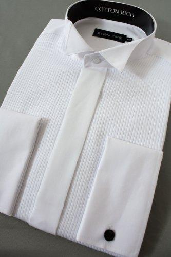 Mock Pleat Wing Collar Dress Shirt 18 1/2inch Neck, White