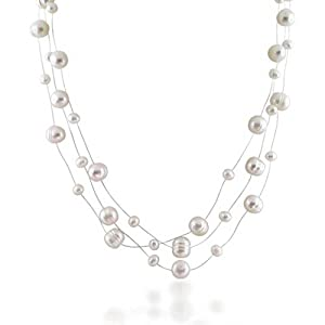 Bling Jewelry Bridal Silver Freshwater Pearl Illusion Three Strand Necklace 16in