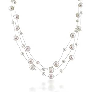Bling Jewelry Bridal 925 Silver Freshwater Cultured Pearl Illusion Necklace 16in