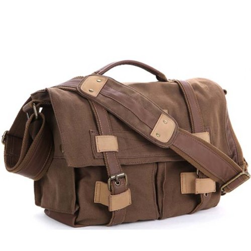 New Win8Fong Coffee Canvas Dslr Camera Bag Shoulder Messenger Bag For Sony Canon Nikon Bbk-3