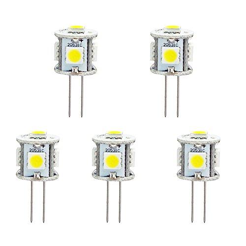 HERO-LED, T3-Tower Grundlage Bi-Pin JC G4 LED Halogen Xenon Ersatz-Glühlampe AC/DC, 12 V oder 24 V DC, Schreibtischlampen, Pendelleuchte, Puck-Lampen, im Rahmen counter-Lichter, Unterschrank-Leuchten, Marine, Boote, Yachten, Accent, Display, der Landschaft und allgemeine Beleuchtung, 5 W, SMD LEDs, 10 W, Ersatz, 5 Stück, Warmweiß 3000k, G4, 1.00 wattsW 12.00 voltsV