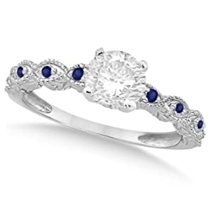 Ladies Vintage Diamond and Blue Sapphire Engagement Ring Marquise Style 14k White Gold 0.50ct