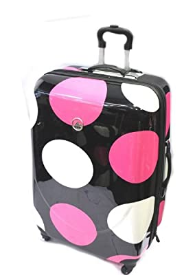 Rock Windhoek 4 Wheels ABS Shell Extra Large Size Case Black with Pink and White Big Dots from Rock