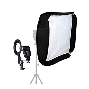 """24"""" 60cm x 60cm EZ-Fold Studio Softbox Kit with 2 x Diffusers and for Portable Flash and Speedlite"""