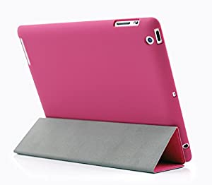 KHOMO - iPad 2nd, 3rd and 4th Gen DUAL Case - Super Slim Twill Dark Pink Cover with Rubberized back and Smart Feature (Built-in magnet for sleep / wake feature) For Apple iPad 2 iPad 3 & iPad 4 ... from KHOMO