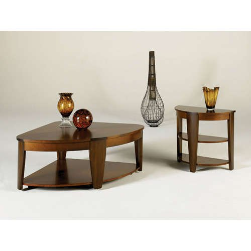 Image of Demilune End Table by Hammary - Rich Medium Brown (T2003419-00) (T2003419-00)