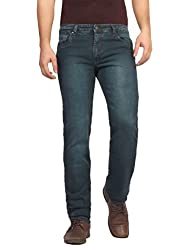 FN Jeans Stylish Bottle Green Slim Fit Low Rise Stone Wash Denim For Men | FNJ9166