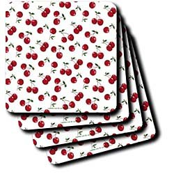 Lee Hiller Designs RAB Rockabilly - RAB Rockabilly Red Cherries on White - Coasters