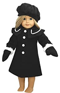 Unique Doll Clothing Black Winter American Girl Doll Coat for 18 Inch Dolls Including the American Girl Line at Sears.com