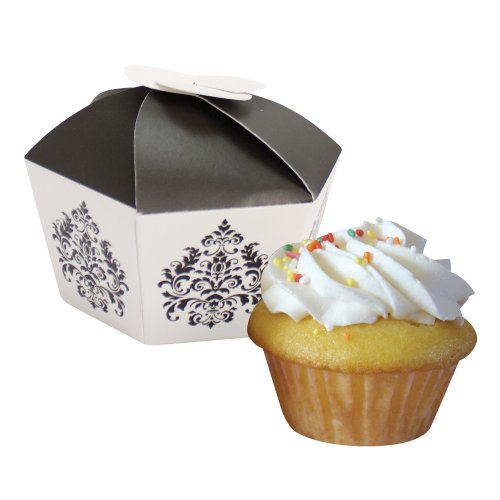 Creative Converting Presentation Station Individual Cupcake or Candy Favor Boxes, Black and White Damask, 4 Boxes per Package
