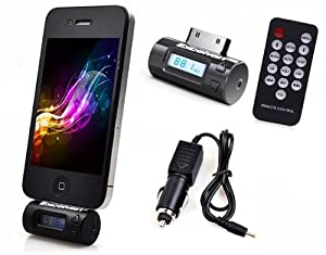 Excelvan FM Transmitter + Car Charger + Remote Control Compatible with iPhone 4S/4/3GS/3G iPOD