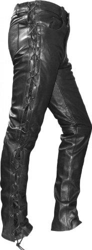 German Wear - Pantaloni da Moto in Pelle con Lateralmente Lato Lacci, Nero, 52