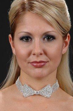 Bow Tie Rhinestones Choker Necklace Austrian Crystal