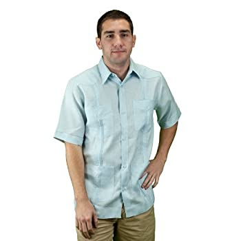 Mens cuban shirt guayabera light blue.