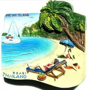 Phi Phi Island Krabi Thailand Paradise Beach Souvenir 3D High Quality Resin 3D fridge Refrigerator Thai Magnet Hand Made Craft