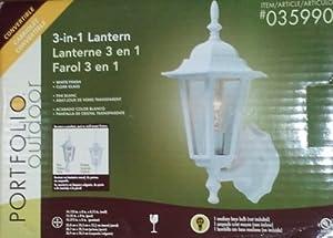 Portfolio Outdoor 3-in-1 Convertible Wall Lantern Light Fixture, White Finish (Item # 035990)