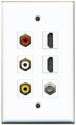 Riteav - 3 X Rca - 2 X Hdmi And 1 X Coax Cable Tv Port Wall Plate White