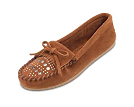 Studded Minnetonka Moccasin in Brown Womens