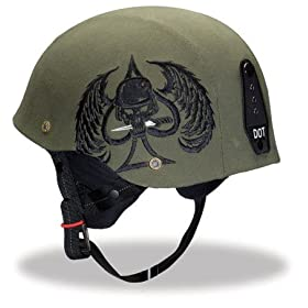 Bell Drifter Combat Green and Black Embroidered Half Motorcycle Helmet - Size : Medium
