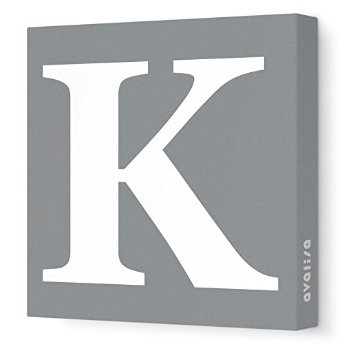 "Avalisa Stretched Canvas Upper Letter K Nursery Wall Art, Grey, 18"" x 18"""