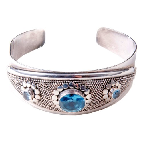 Sterling silver one large blue quartz, faceted bezel set with 2 round bezel set blue quartz cuff bracelet.