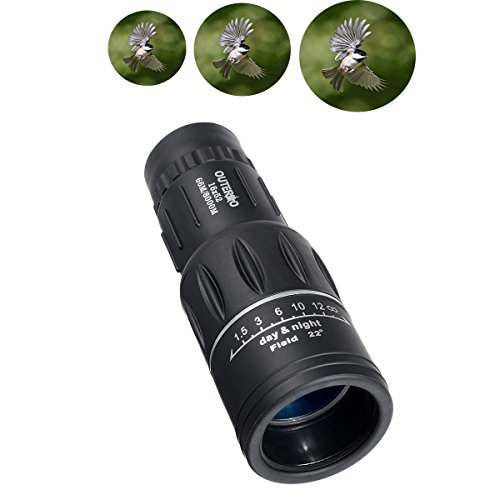 Monocular,OUTERDO Waterproof Telescope 16x52 (66m/ 8000m)Dual Focus Scope with 10 Magnification For Wildlife Hunting Camping Surveillance Sporting Events Traveling