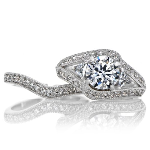 Celebrity Star Emitations Dina's Vintage Style Round Cut CZ Wedding Ring Set Size 9