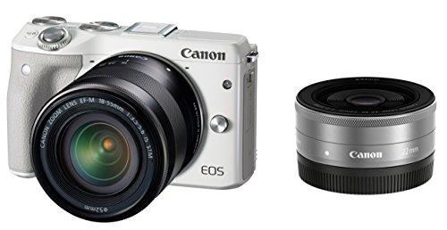 Canon ミラーレス一眼カメラ EOS M3 ダブルレンズキット(ホワイト) EF-M18-55mm F3.5-5.6 IS STM EF-M22mm F2 STM 付属 EOSM3WH-WLK