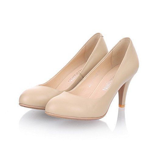 Vouge001 Womens Closed Round Toe High Heel Cow Leather PU Soft Material Solid Pumps