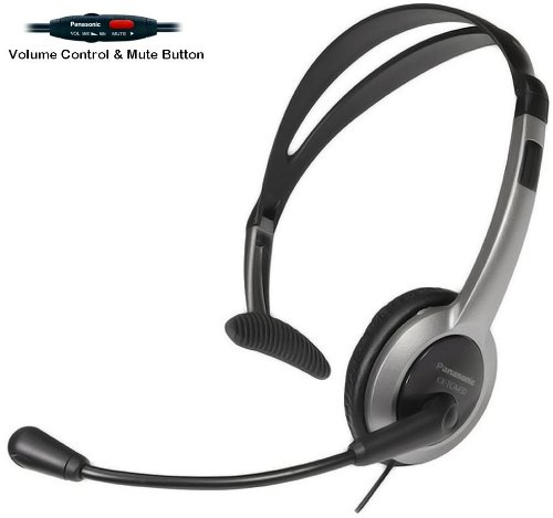 Panasonic Hands-Free Headset with Foldable Comfort Fit Lightweight Headband & Flexible Optimum Voice Microphone with Volume Control & Mute Switch For The Panasonic KX-TG6071B - KX-TG6072B - KX-TG6073B - KX-TG6074B 5.8 GHz Digital Cordless Phone Answering System