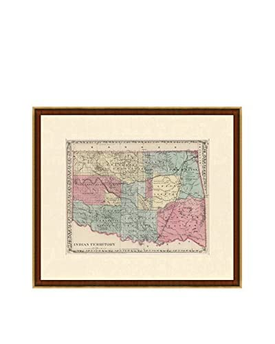 Antique Map of Indian Territory, 1880