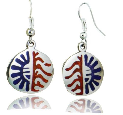 ARTCAMP Fair Trade Alpaca Silver Inlaind Hopi Sun Earrings - Red & Blue