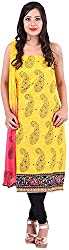 Asopalav Women's Brasso Unstitched Salwar Suit (AS-154, Yellow)