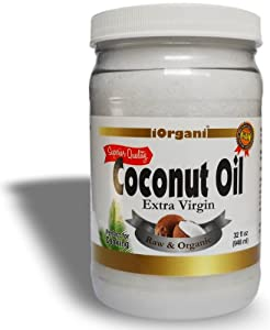 Coconut Oil Extra Virgin Organic, 32oz, Unrefined Raw for Skin, Pure Cold Pressed, Best for Cooking, Baking, FREE eBook Included. Satisfaction Guaranteed.