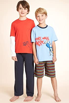 3 Pack - Older Boys' Pure Cotton Assorted Pyjamas